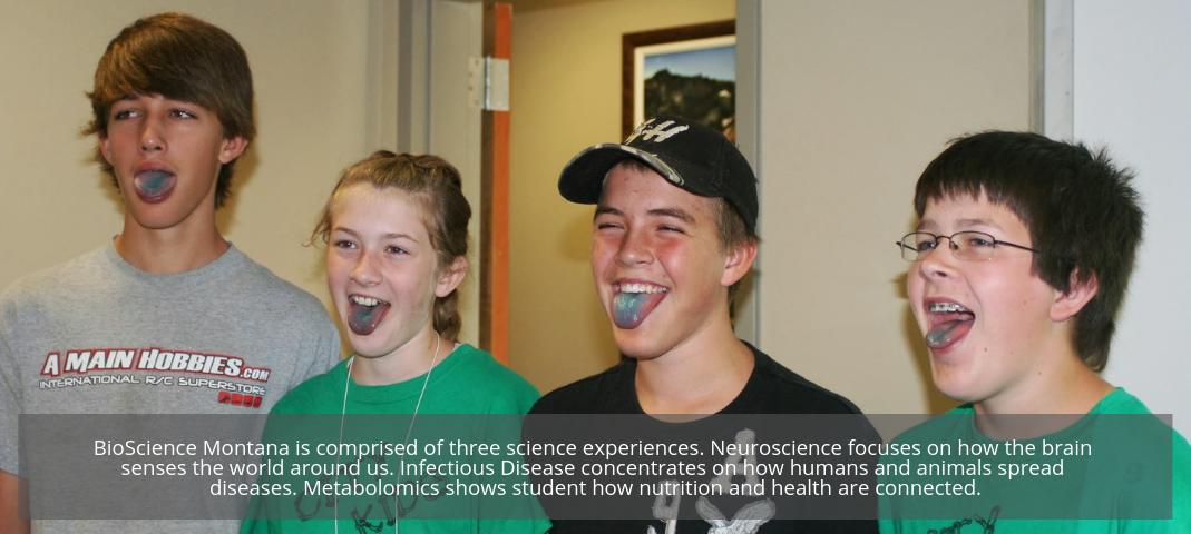 BioScience Montana is comprised of three science experiences. Neuroscience focuses on how the brain senses the world around us. Infectious Disease concentrates on how humans and animals spread diseases. Metabolomics shows student how nutrition and health are connected.